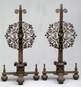 Hand forged wrought iron andirons
